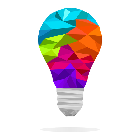 Colorful  low polygon light bulb concept of creative idea. Vector design element, banners, sign, presentation, graphic or website layout.