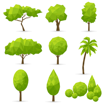 Set of abstract polygonal trees on a white background. Vector illustration. Vettoriali