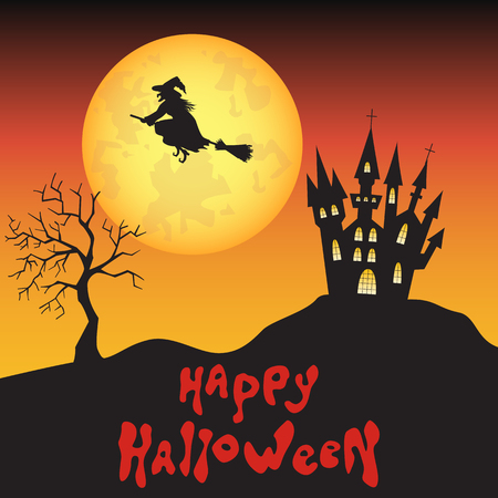 fearsome: Halloween  witch,  castle  and moon background.  Vector  illustration  for  card, flyer or party  invitation.