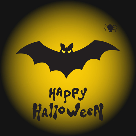Fearsome bat, spider and moon. Happy Halloween vector background.