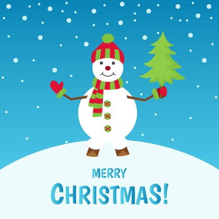 Merry  Christmas.  Cute  snowman  on  winter  landscape.  Greeting  card background. Holiday vector  illustration.