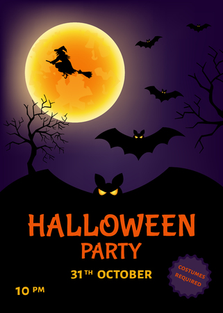 fearsome: Halloween   party poster.  Vector  illustration  for  flyer  or  invitation.
