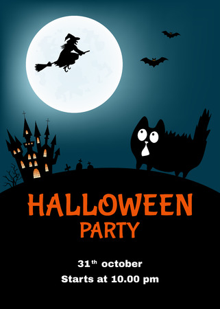 Halloween party poster. Funny vector illustration with cute cat, castle, witch and moon. Ilustração