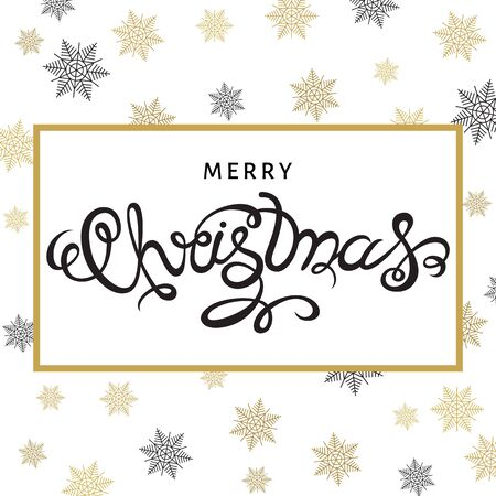 greeting: Merry Christmas hand lettering with golden  snowflakes on white  background. Vector greeting  card. Illustration