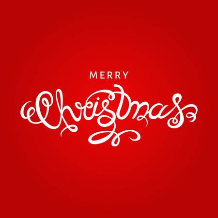 happy new year banner: Christmas  greeting  card. Hand lettering on red  background.