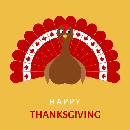 Happy Thanksgiving  Celebration Design with Cartoon Turkey bird in colors of flag  of  Canada. Vector  illustration.