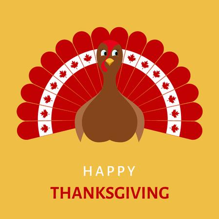 thanksgiving day symbol: Felice Celebration Design Ringraziamento con la Turchia del fumetto degli uccelli nei colori della bandiera del Canada. Illustrazione vettoriale.