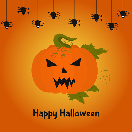 awful: Terrible  pumpkin.  Happy  Halloween card. Vector  illustration for poster,  flyer or party  invitation. Illustration