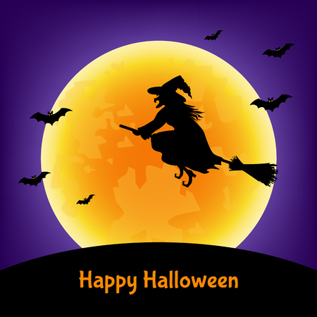 Halloween  witch,  bats  and moon background.  Vector  illustration  for  card, flyer or party  invitation. Ilustração