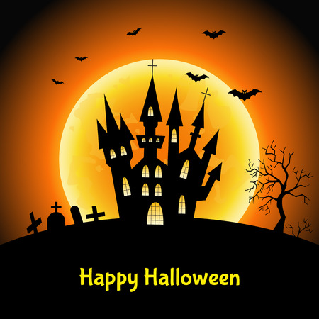 fearsome: Happy Halloween  card with   castle  and moon.  Vector  illustration  for  flyer or party  invitation.