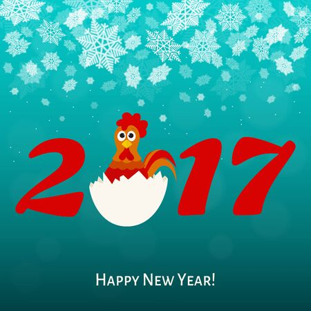new year card: 2017.Happy New year greeting  card  with fun rooster.  Holiday vector  illustration. Illustration