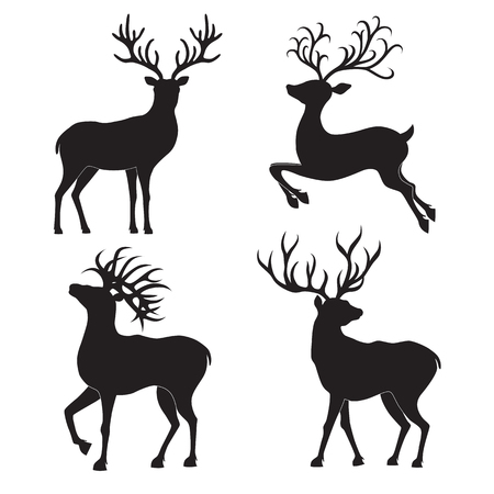 scandinavia: Collection of  Christmas  deer silhouettes isolated on the white background. Vector illustration.