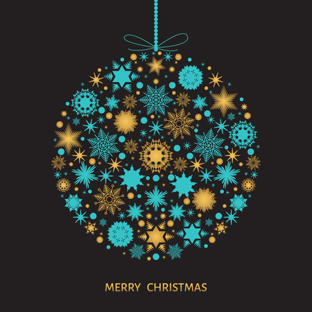 gold snowflakes: Christmas tree decoration. Xmas ball with  gold snowflakes. Vector illustration for postcard background.