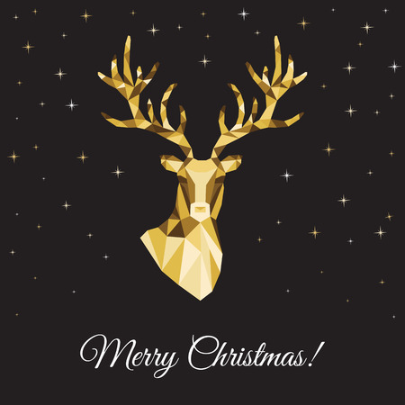Low poly triangle deer head. Christmas greeting card with gold  reindeer  on black background. Vector illustration in origami style.