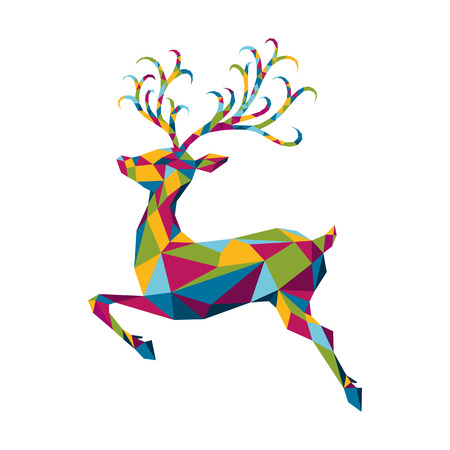 Abstract colorful low poly triangle  deer isolated on white background. Vector illustration with wild animal in origami style.