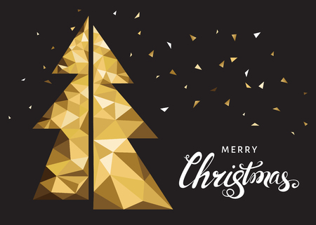 Golden Christmas tree and lettering. Xmas greeting card with  polygonal  triangle fir-tree  on black background. Vector illustration in origami style.