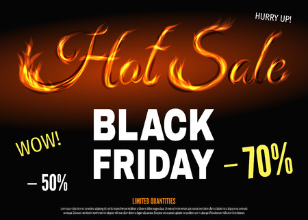 super hot: Black Friday hot sale poster template with text from fire. Super discount and special offer banner: 50% and 70% off. Vector illustration background. Illustration