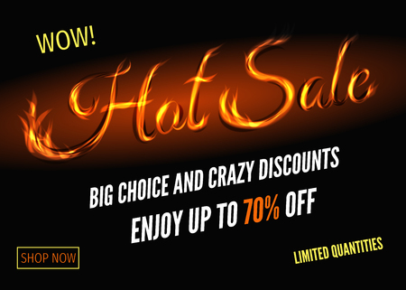 Hot sale poster design with sign from fire. Crazy discount and special offer banner. Vector illustration.