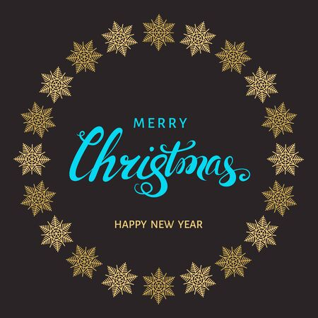 christmas snowflakes: Christmas  blue hand lettering with golden  snowflakes on black  background. Vector greeting  card.