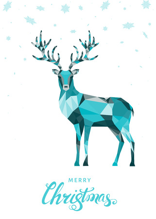 Xmas low poly triangle deer . Christmas greeting card with colorful reindeer  on white background. Vector illustration in origami style.