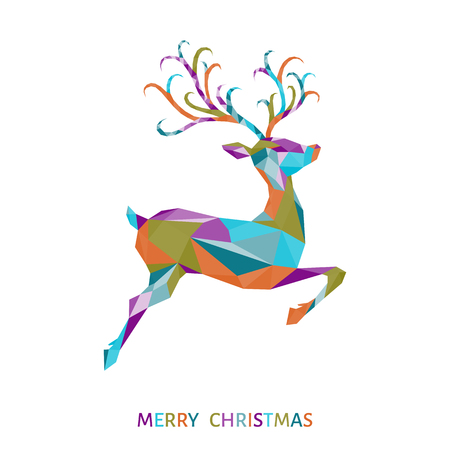 Low poly triangle jump deer. Christmas greeting card with colorful abstract  reindeer  on white background. Xmas vector illustration in origami style.