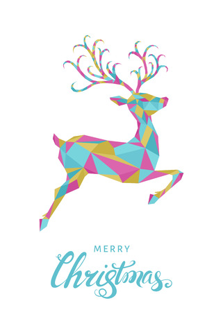 Low poly triangle deer. Christmas greeting card with bright colorful polygonal  reindeer  on white background. Vector illustration in origami style.