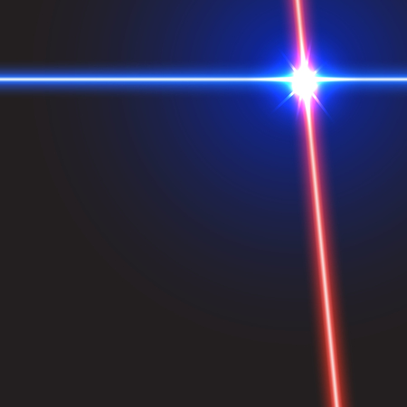Vector  laser beam background in red and blue color with light  flares.