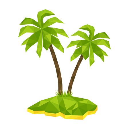 île tropicale avec deux arbres polygone de palmiers, affiche de concept pour les vacances et les vacances. vecteur de paradis d'été illustration.