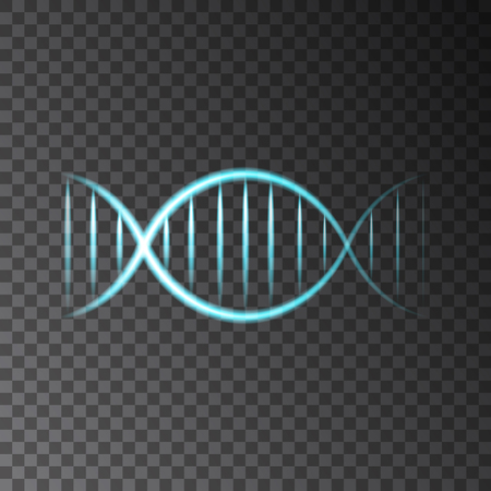 rejuvenation: Blue neon shining  DNA  helix isolated on transparent background. Beauty, science,  technology  or medical vector concept. Illustration