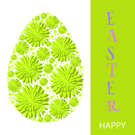 Easter eggs for holidays design on white background. Spring  flowers. Vector template.