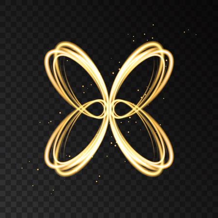 Golden neon astratto farfalla silhouette isolato su sfondo trasparente. Effetto luminoso con raggi laser. Vettore logotype d'oro.