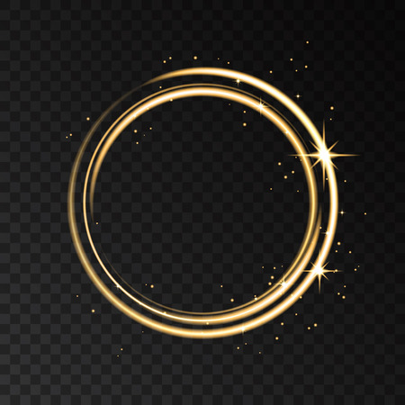 Golden neon ring  lights effect isolated on black transparent background. Shining  gold  magic flash energy beams. Vector template. Imagens - 74954045