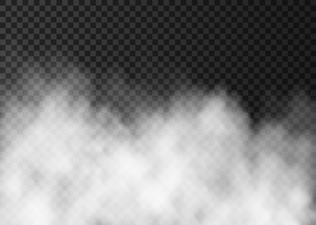 White fog isolated on dark transparent background. Steam special effect. Realistic fire smoke or mist vector texture .