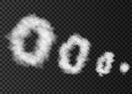 透明な背景に分離された煙の白いパフ。 喫煙パイプの特殊効果からリングを蒸気します。 現実的なベクトルは、霧やミストのテクスチャの円の上昇