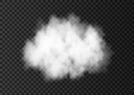 Bianco nuvola di fumo isolato su sfondo trasparente. Effetto speciale esplosivo a vapore. Nebbia realistica di fuoco vettoriale o nebbia texture.