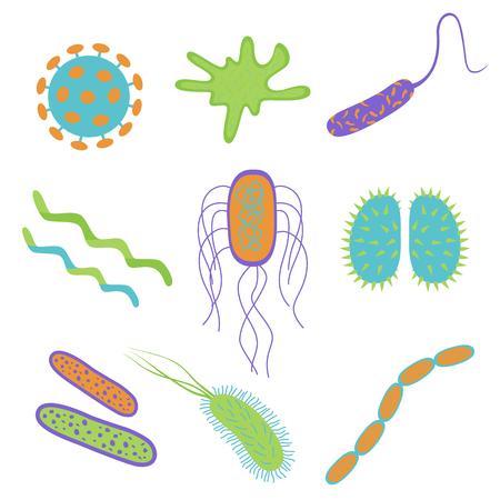 Los iconos planos de los gérmenes y de las bacterias del diseño de la historieta fijaron aislado en el fondo blanco. Forma de la célula bacteriana. Ilustración de vector de microorganismos.