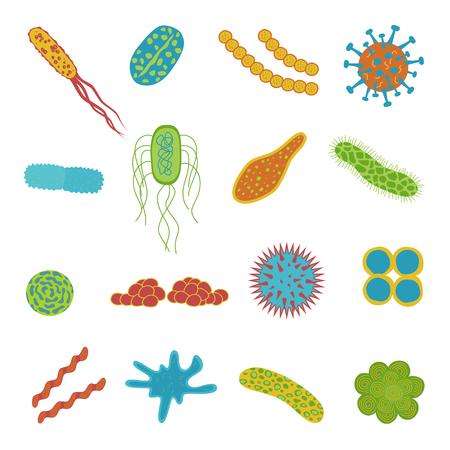 Iconos de virus y bacterias aislados sobre fondo blanco. Microbioma en estilo plano de dibujos animados. Ilustración vectorial de microorganismos.