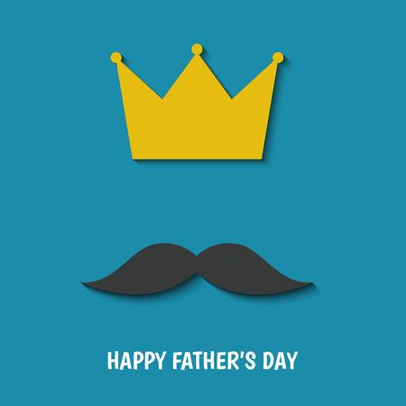 Gelukkige Vaderdaggroetkaart met snor en kroon op blauwe achtergrond. Vlakke stijl vector sjabloon.