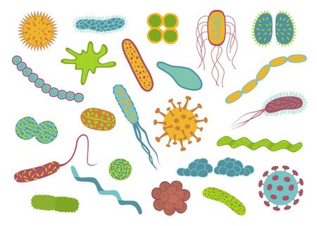 フラットなデザインの細菌や細菌のアイコンに分離の白い背景を設定します。 細菌の細胞の形状: 球菌、桿菌、spirilla。 ベクトルの図。