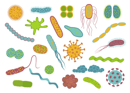 Flat design germs and bacteria icons set  isolated on white background.  Shape of bacterial cell: cocci, bacilli, spirilla.  Vector  illustration.
