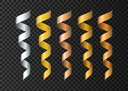 streamers: Set of  realistic  golden , silvery, copper  ribbons  serpentine. Gold  decoration  streamers. Vector  3d  holiday design elements for party, carnival, birthday, Xmas and  New  Year design template. Illustration