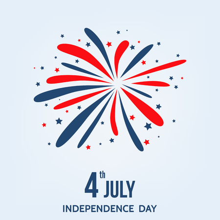 Happy  Independence  Day of  the  USA. 4th of  July  card  with  firework   in  blue and red  colors. Vector design  element  for sale banner, flyer or party invitation template.