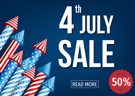 Independence  Day of  the USA. 4th of  July  sale banner  with  firework  rockets  on blue background. Up  to 50% off. Vector  template  for poster, discount flyer or party invitation  design. Illustration