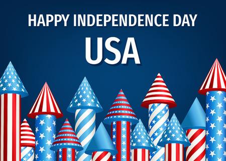 Happy Independence Day van de VS. 4 juli-affiche met vuurwerkraketten op blauwe achtergrond. Vectormalplaatje voor verkoopbanner, kortingsvlieger of het ontwerp van de partijuitnodiging.