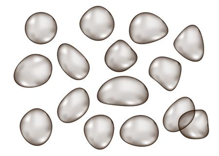 Bulles brillants noirs transparents de forme irrégulière isolés sur fond blanc. Sphère gris foncé. Texture de goutte de vecteur.
