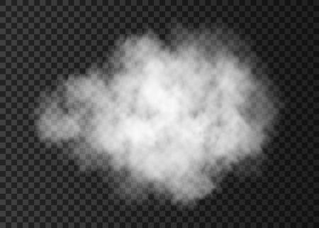 Witte rook wolk geïsoleerd op transparante achtergrond. Brandstoom explosie speciale werking. Realistische vector mist of mist textuur.