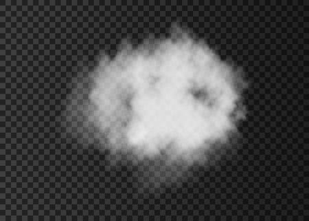 現実的な白い煙雲は透明な背景に分離されました。 蒸気爆発の特殊効果。 ベクトル火霧やミストのテクスチャです。