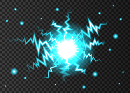 Blue neon glowing flash light effect isolated on transparent background. Ball lightning or electricity blast. Burst with sparkles. Vector explosion texture.