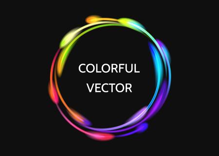 Kleurrijk neon cirkel lichteffect. Stock Illustratie