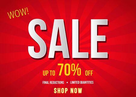赤い背景に販売バナー。最終的な削減。特別オファー ポスター: 最大 70% オフ。 フラット スタイルのベクトル図です。  イラスト・ベクター素材